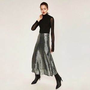 Zara Sequinned Midi Maxi Skirt